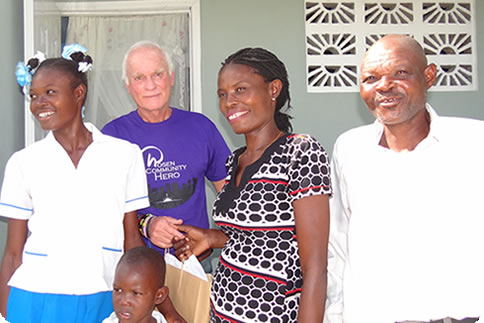 Harris Rosen with family in Haiti